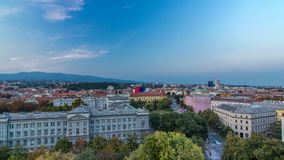 Panorama of the city center timelapse shoot from top of the skyscraper with a view to the intersection in front of. National theater and museum in Zagreb stock footage