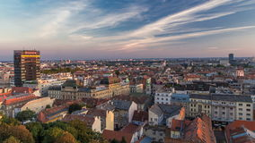 Panorama of the city center timelapse, Zagreb capitol of Croatia, with mail buildings, museums and cathedral in the