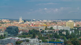 Panorama of the city center timelapse of Zagreb, Croatia, with modern and historic buildings, museums in the distance. Panorama of the city center timelapse stock video footage