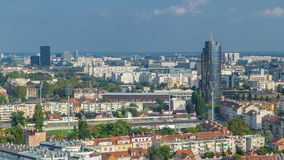Panorama of the city center timelapse of Zagreb, Croatia, with modern and historic buildings, museums in the distance. Top view from skyscraper stock video footage