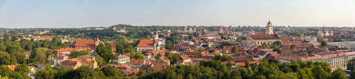Panorama of the city center of Vilnius Royalty Free Stock Photos