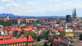 Panorama of the city center, Zagreb. Capitol of Croatia, with mail buildings, museums and cathedral in the distance stock footage