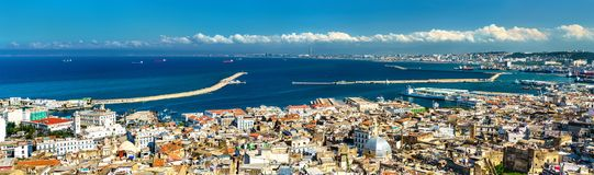 Panorama of the city centre of Algiers in Algeria. Panorama of the city centre of Algiers, the capital of Algeria stock photo