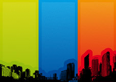 Panorama of city with colored strips. Vector Stock Photos