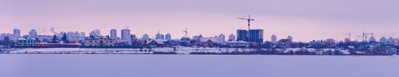 Panorama of city in construction Stock Photography