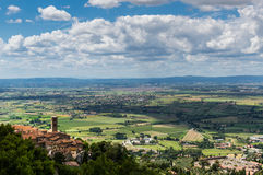Panorama of the city of Cortona and Val Chianina, Tuscany - Ital Stock Photo