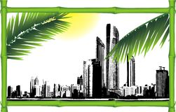 Panorama of city in the decorative bamboo frame Royalty Free Stock Images