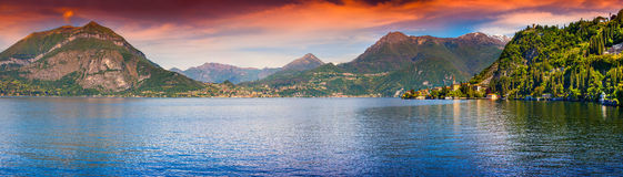 Panorama of the city Dervio at sunrise Stock Image