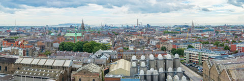 Panorama of the city of Dublin, beer brewery in the foreground Ireland Royalty Free Stock Photography