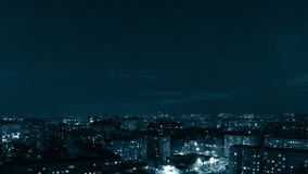 Panorama of city evening. Tinted. Timelapse Stock Photography