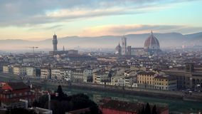 FLORENCE in Italy with the dome and Palazzo della Signoria and arno river. Panorama of the city of FLORENCE in Italy with the dome and Palazzo della Signoria and stock video