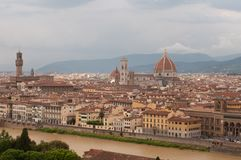 Panoramic image of city of Florence with Duomo, Giotto`s bell tower,, Palazzo Vecchio stock image
