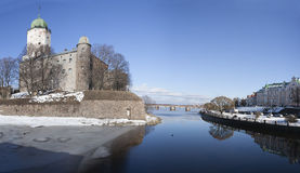 Panorama of a city fortress Vyborg in sunny spring day Stock Images