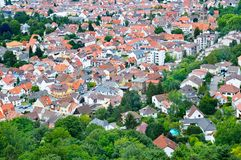 Panorama of the city. Germany. The type of roofs and streets fro. Beautiful panorama of the city. Germany. The type of roofs and streets from above royalty free stock image