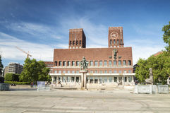 Panorama of City Hall, Oslo. Panorama of City Hall and Monuments, Oslo, Norway Royalty Free Stock Images