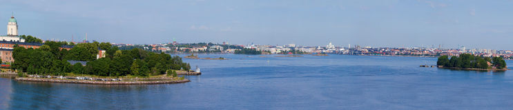Panorama of the city of Helsinki, Finland. Panoramic view on the city of Helsinki from the sea, Finland stock images