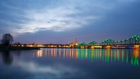 Panorama of the city and illuminated bridge Royalty Free Stock Photo