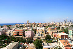 Panorama of the city of Jafo. The city of Jafo in Tel Aviv lays on coast of Mediterranean sea Royalty Free Stock Photo