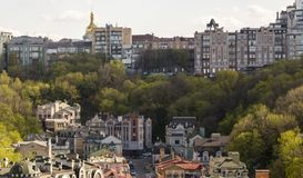 Panorama of the city of Kiev from the castle mountain. royalty free stock image