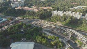 Panorama of the city of Kuala Lumpur and road junction. Malaysia. Aerial view. stock video footage