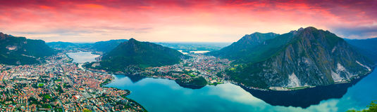 Panorama of the city Lecco. Royalty Free Stock Image