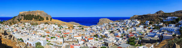 Panorama of the city of Lindos on Rhodes. Aerial view of buildings and acropolis Stock Photo