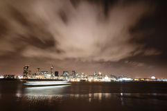 Panorama of the city of Liverpool, England on New Year's Eve Royalty Free Stock Images