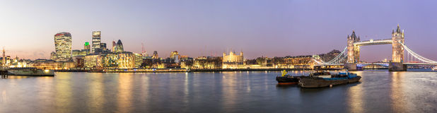 Panorama from the City of London to the Tower Bridge Royalty Free Stock Images