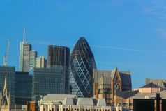 Panorama of the City of London. View of the left bank of London, from the right bank of the Thames.  royalty free stock photography