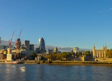 Panorama of the City of London. View of the left bank of London, from the right bank of the Thames royalty free stock photos