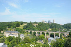 Panorama of city Luxembourg. View of bridge in center of Luxembourg in summer Royalty Free Stock Photo