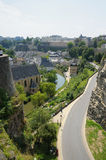 Panorama of city Luxembourg. View of center of Luxembourg in summer Royalty Free Stock Photo