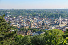 Panorama of the city of Lviv. Central part of the old city. Royalty Free Stock Photos
