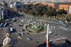 Panorama of city of Madrid from Cybele Palace. MADRID, SPAIN - JANUARY 24, 2018:  Amazing Panorama of city of Madrid from Cybele Palace Palacio de Cibeles, Spain royalty free stock photos