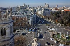 Panorama of city of Madrid from Cybele Palace. MADRID, SPAIN - JANUARY 24, 2018:  Amazing Panorama of city of Madrid from Cybele Palace Palacio de Cibeles, Spain royalty free stock image