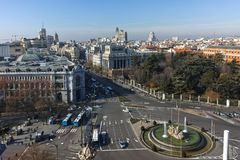 Panorama of city of Madrid from Cybele Palace. MADRID, SPAIN - JANUARY 24, 2018:  Amazing Panorama of city of Madrid from Cybele Palace Palacio de Cibeles, Spain royalty free stock photo