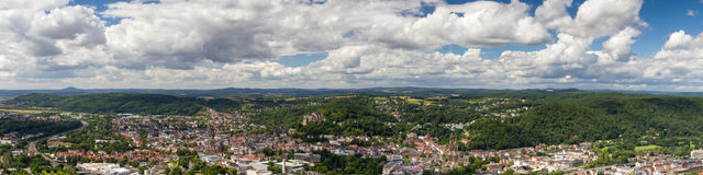 Panorama of the city of Marburg stock photography