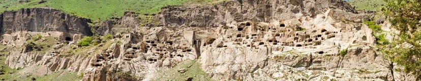 Panorama of city monastery Vardzia,Georgia Royalty Free Stock Photos