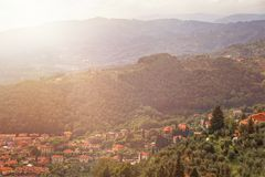 Panorama of city Montecatini Terme in Tuscany in summer Italy, Europe. Top view of part city Montecatini Terme in Tuscany, summer day, Italy, Europe Royalty Free Stock Photos