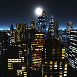 Panorama of the city. Moon over skyscrapers. the city Royalty Free Stock Photos