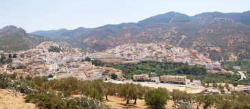Panorama of the city of Moulay Idriss in Morocco Royalty Free Stock Photography