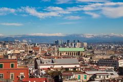 Landscape of city Naples with blue sky and mountains, Italy royalty free stock photos