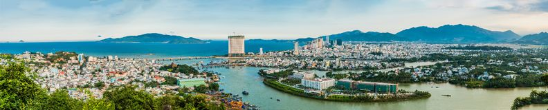 Panorama of the city of Nha Trang, Vietnam. Panoramic daytime view of Nha Trang city, popular tourist destination in Vietnam Royalty Free Stock Photo