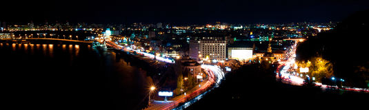Panorama of the city at night Stock Photo