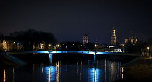 Panorama of the city at night Stock Image