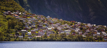 Panorama of the city of Odda. Norway Stock Image