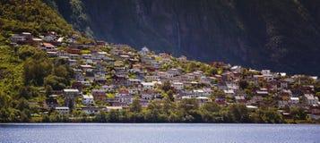Panorama of the city of Odda. Norway stock image