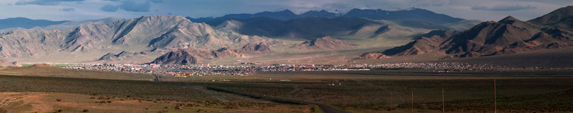 Panorama of city Olgiy in Mongolia Royalty Free Stock Images
