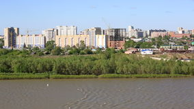Panorama city of Omsk on the Irtysh River. Royalty Free Stock Photography