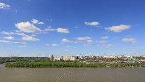 Panorama city of Omsk on the Irtysh River. Stock Images